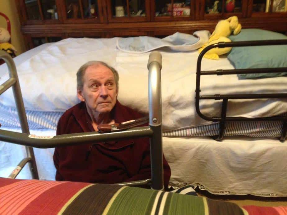Dad sitting by his bed and he can't get up - PivotToHappy